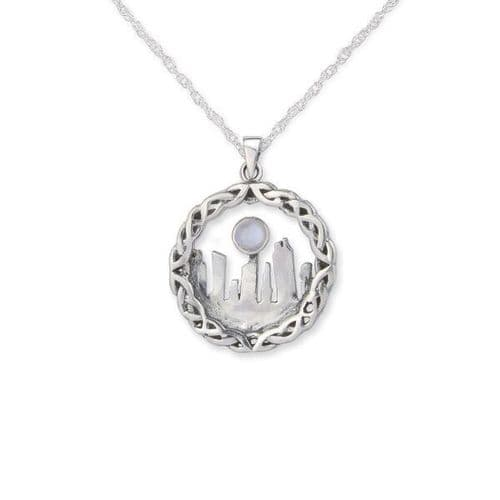 Outlander Inspired Standing Stones Silver Pendant Medium With Moonstone